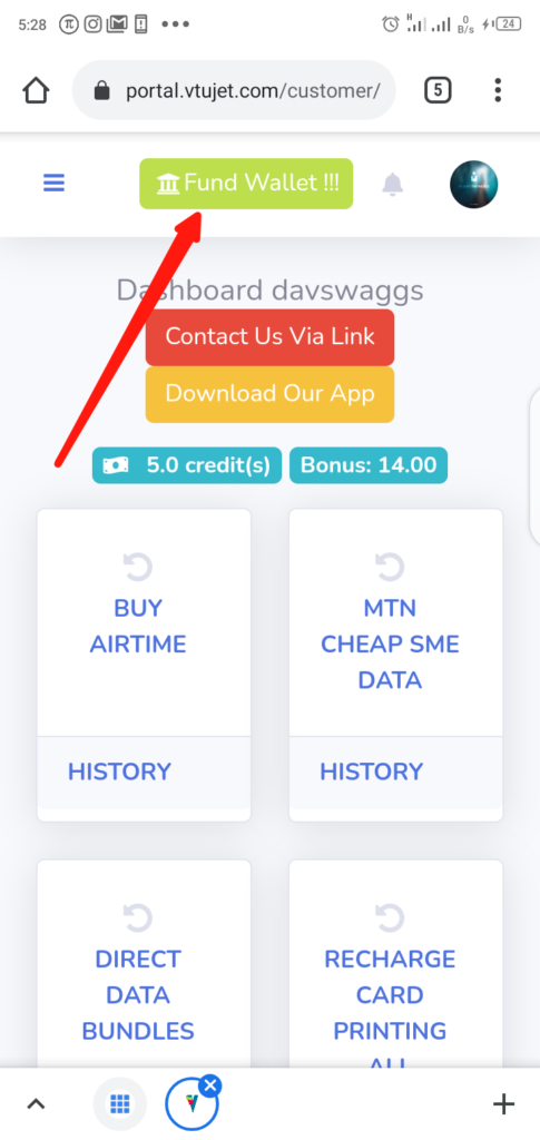 VTUJet Wallet Funding with USSD Code Step 1