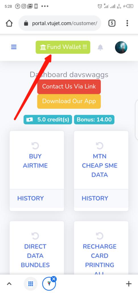VTUJet Fund Wallet Step 1