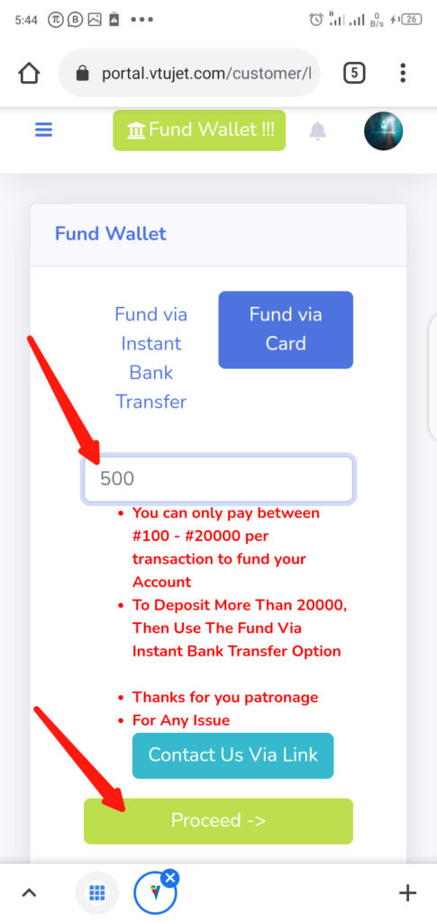 VTUJet Wallet Funding with USSD Code Step 2