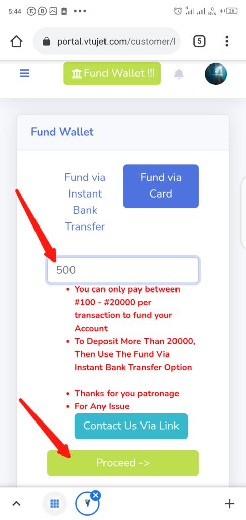 VTUJet Funding Wallet Step 2