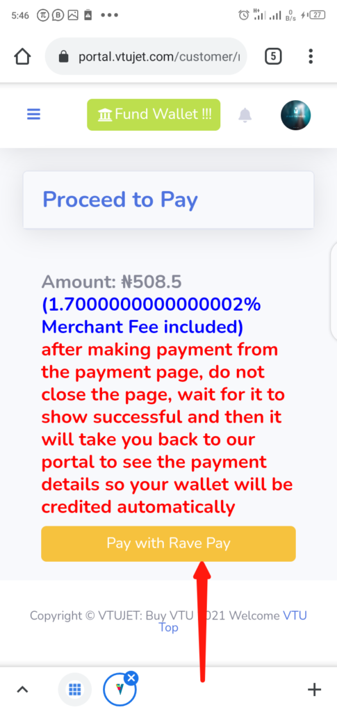 VTUJet Wallet Funding with USSD Code Step 3