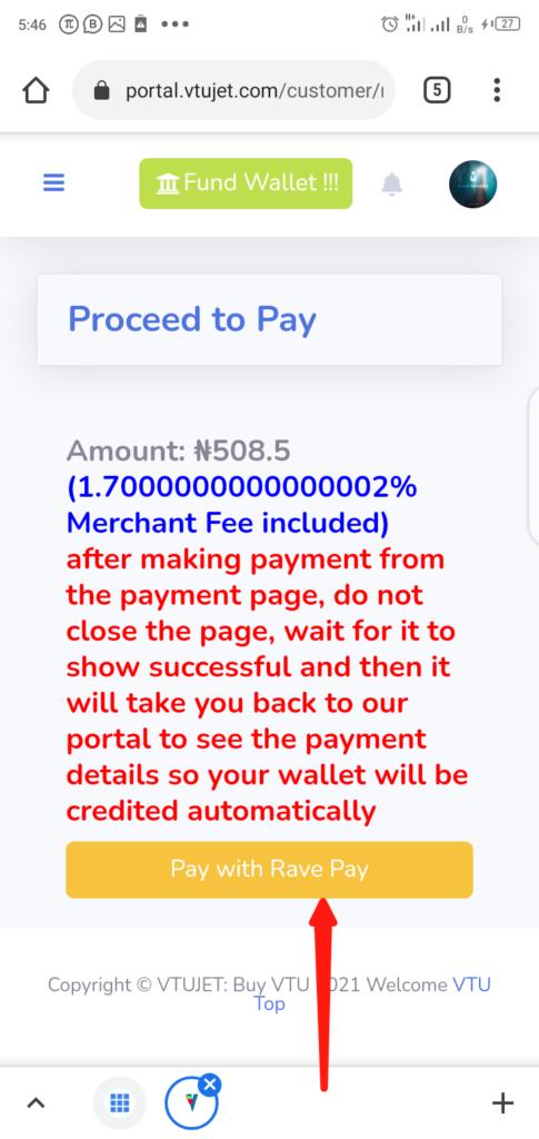 VTUJet Funding Wallet Step 3