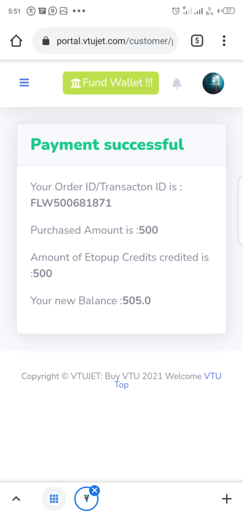 VTUJet Wallet Funding Successful Page