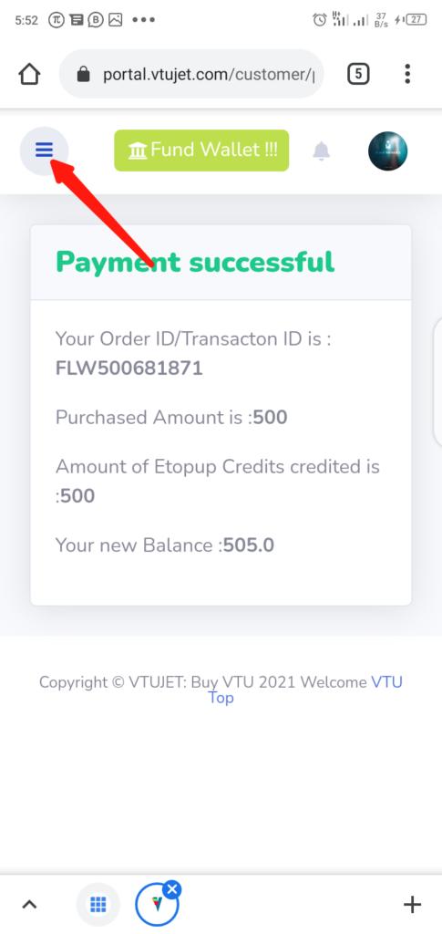 VTUJet Funding Wallet Step 7