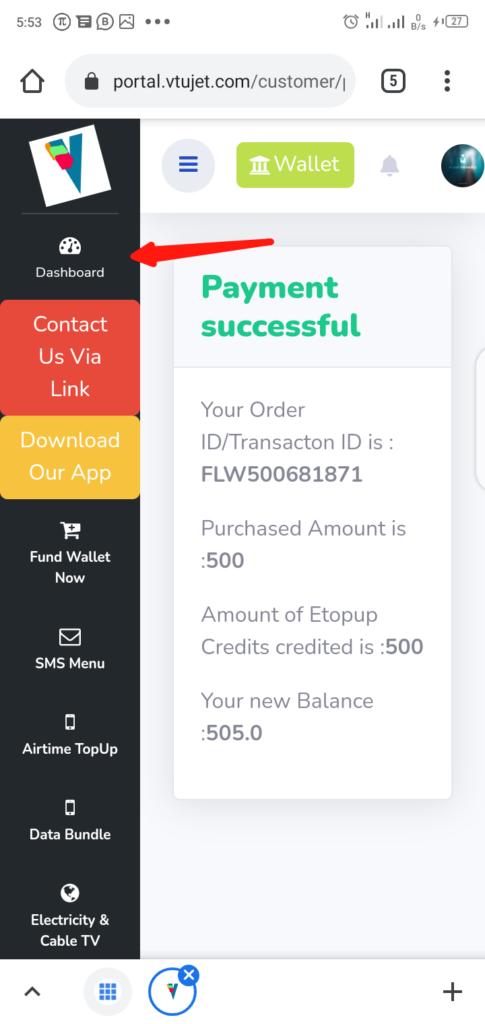 VTUJet Funding Wallet Step 8