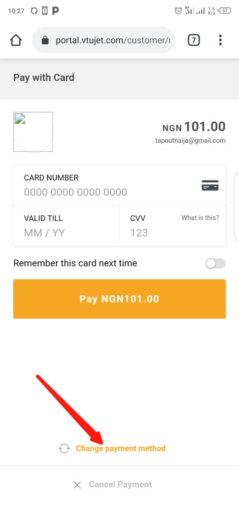 VTUJet Wallet Funding with USSD Code Step 4