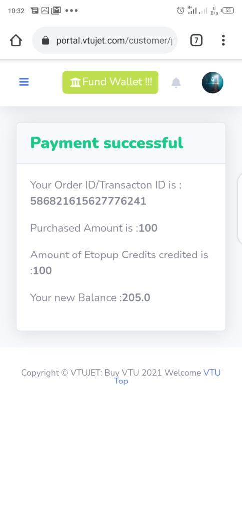 VTUJet Wallet Funding successful message