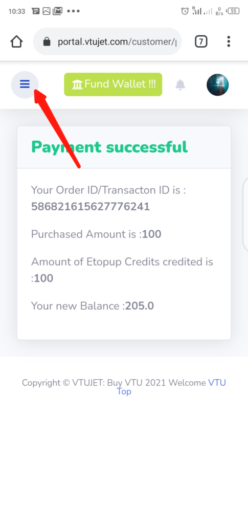 VTUJet Wallet Funding with USSD Code Step 10