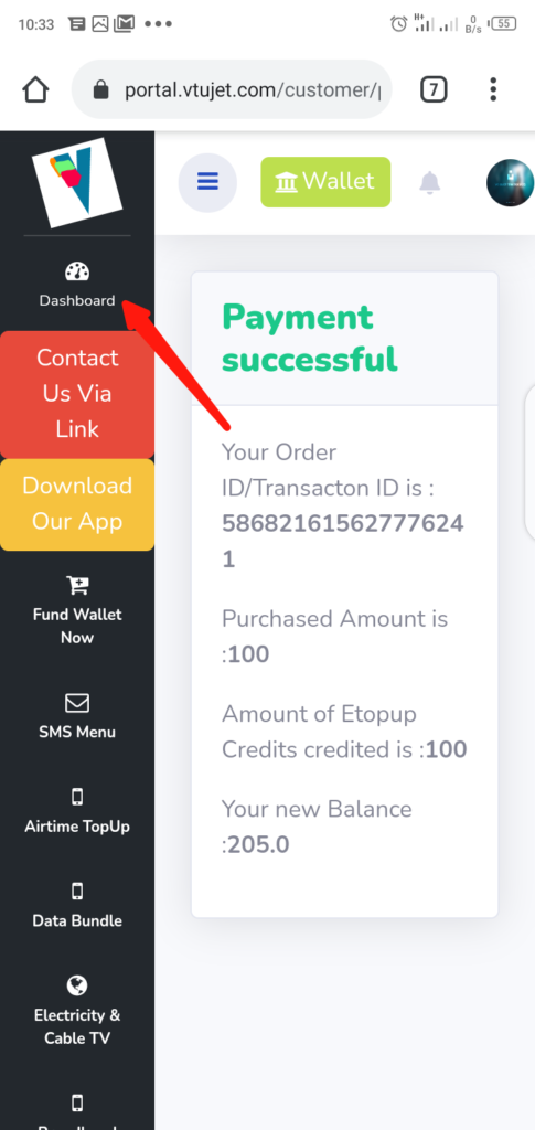VTUJet Wallet Funding with USSD Code Step 11