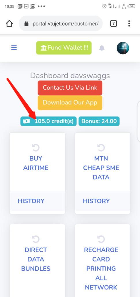 VTUJet Wallet Balance and Dasboard