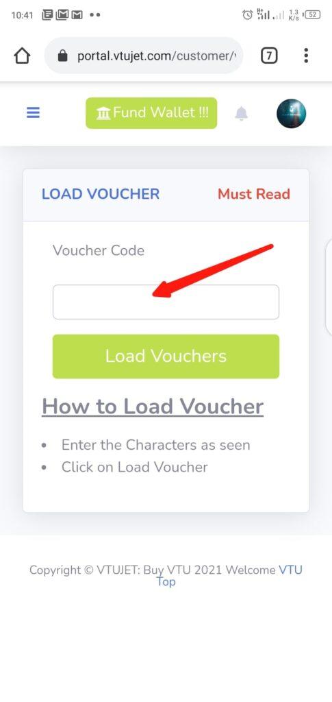 Wallet Funding Using Voucher code Step 4