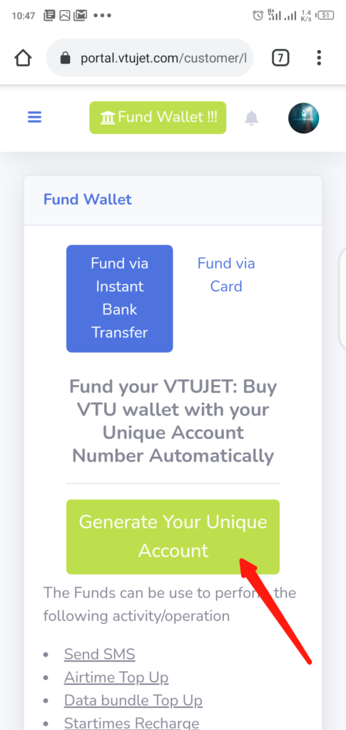 Fund VTUJet Wallet With Instant Bank Transfer Step 2