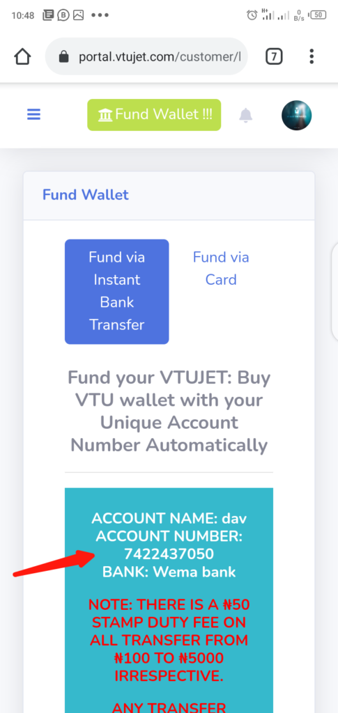 Fund VTUJet Wallet With Instant Bank Transfer Generated Account Details