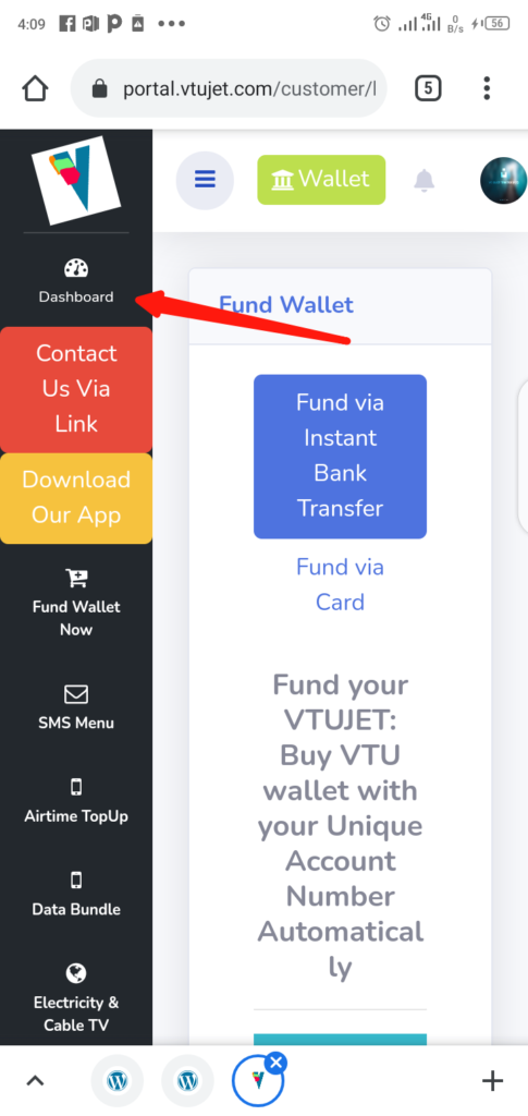 Fund VTUJet Wallet With Instant Bank Transfer Step 5