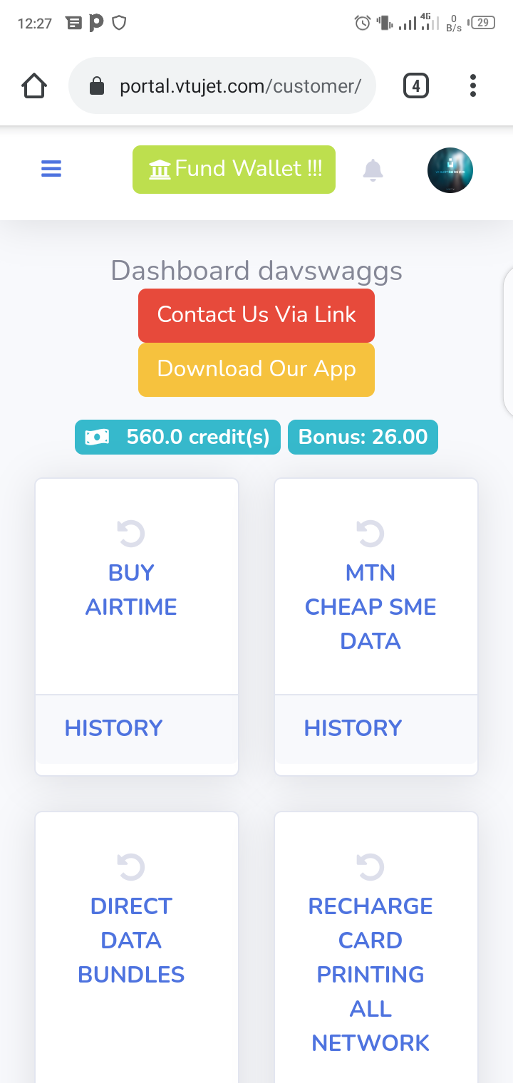 Print Recharge Card with VTUJet