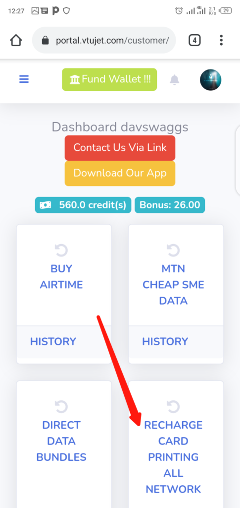 Print Recharge Card with VTUJet Step 1