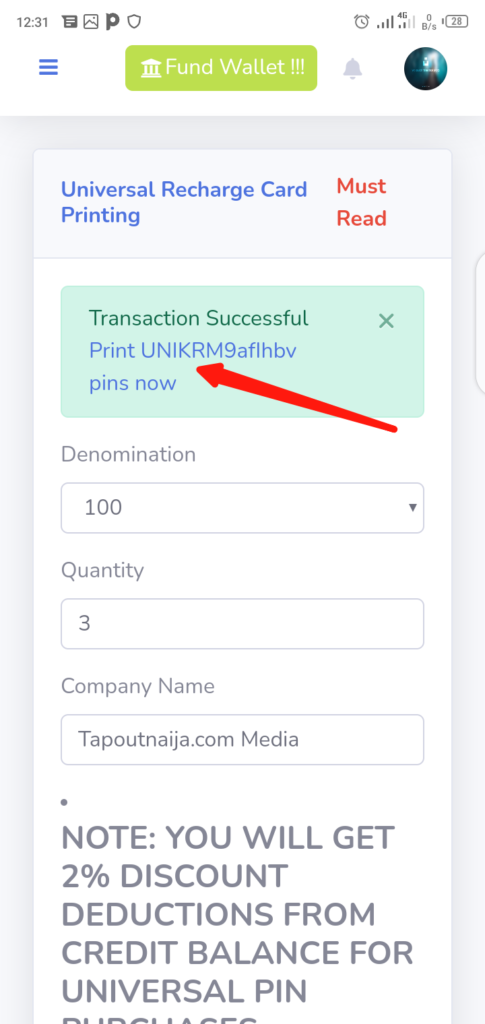 Print Recharge Card with VTUJet Step 5