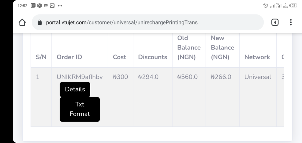 VTUJet Recharge Card Printing History